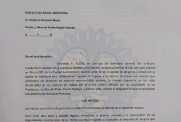 DESPACHO DE BUQUES PESQUEROS CON POTENCIA LIMITADA-SOLICITUD DE URGENTE AUDIENCIA