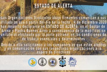 Estado de Alerta- Sector Arena y Piedra Buenos Aires
