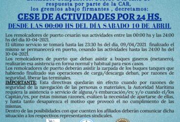 CESE DE ACTIVIDADES - REMOLCADORES DE PUERTO